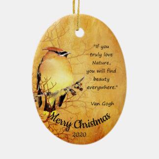 Custom Dated Christmas Watercolor Cedar Waxwing Ceramic Ornament