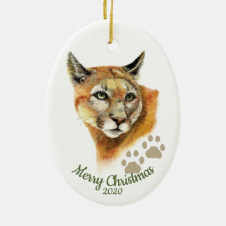 Custom Dated Christmas Watercolor Cougar Animal Ceramic Ornament