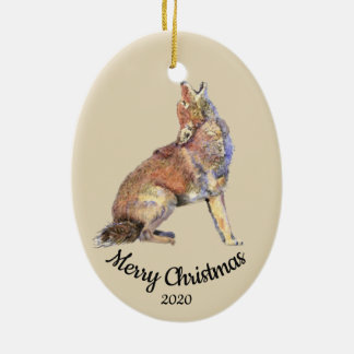 Custom Dated Christmas Watercolor Howling Coyote Ceramic Ornament