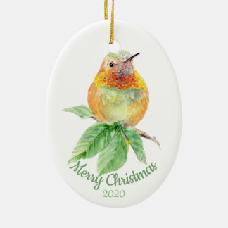Custom Dated Christmas Watercolor Hummingbird Bird Ceramic Ornament