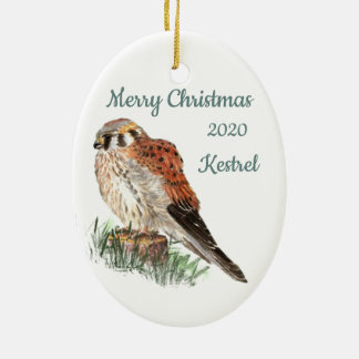 Custom Dated Christmas Watercolor Kestrel, Falcon Ceramic Ornament
