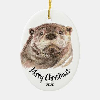 Custom Dated Christmas Watercolor Otter Animal Ceramic Ornament