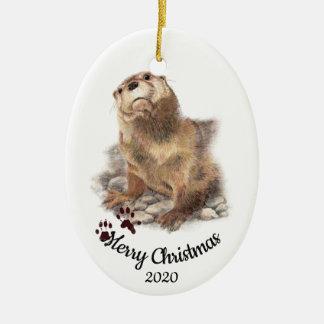 Custom Dated Christmas Watercolor Otter Cute Ceramic Ornament
