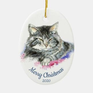 Custom Dated Christmas Watercolor Tabby Cat Ceramic Ornament