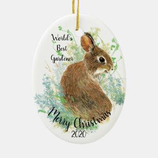 Custom Dated Christmas World's Best Gardener Quote Ceramic Ornament