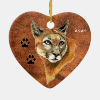 Custom, Dated Cougar, Puma, Mountain Lion Animal Ceramic Ornament