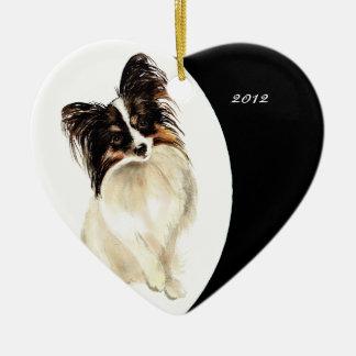 Custom Dated Cute Watercolor Papillon Dog pet Ceramic Ornament