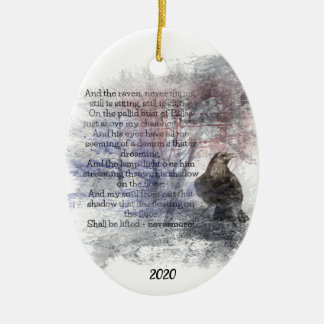 Custom Dated Edgar Allan Poe The Raven Poem Art Ceramic Ornament