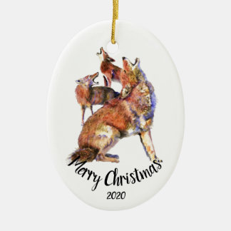 Custom Dated Howling Coyotes Merry Christmas Ceramic Ornament