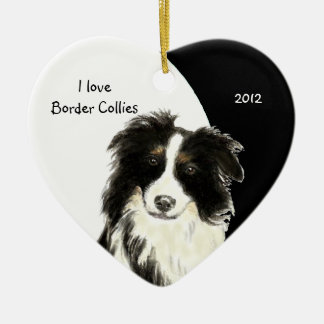 Custom Dated I love Border Collies dog, pet animal Ceramic Ornament