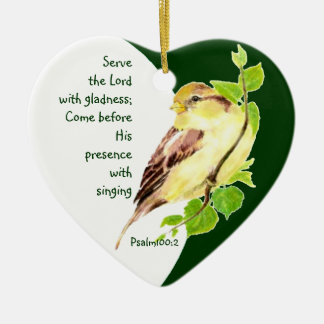 Custom Dated Psalm 100:2 Serve the Lord with Song Ceramic Ornament
