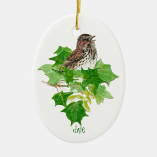 Custom Dated Song Sparrow Watercolor Bird Nature Ceramic Ornament