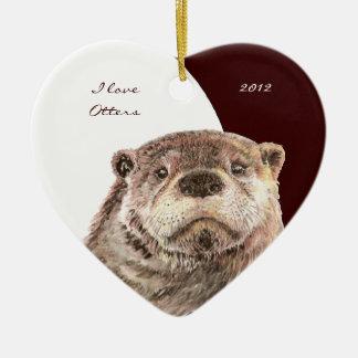 "Custom Dated Watercolor ""I love Otters"" animal Ceramic Ornament"