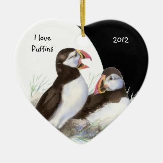 Custom Dated Watercolor I love Puffins Birds Ceramic Ornament