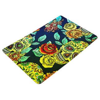 custom day of dead rose skull bath mat