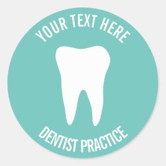 Custom dentist dental office dentistry tooth logo classic round sticker