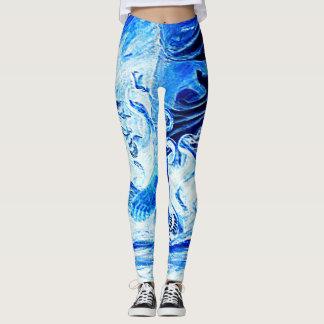 Custom DESIGN BY FRANK MOTHE. BLUE SNAKE. Leggings