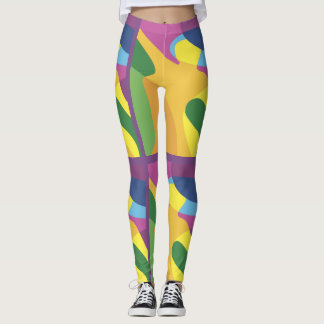 Custom Designed Leggings w Colorful Abstract Form