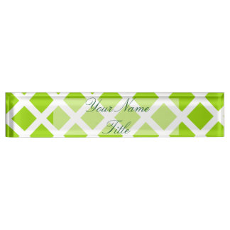 Custom Desk Name Plate Apple Green Lime Striped