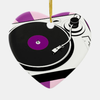 Custom Disco Turntable Retro Record Ceramic Heart Ornament