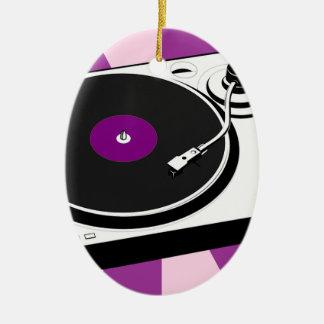 Custom Disco Turntable Retro Record Ceramic Oval Ornament
