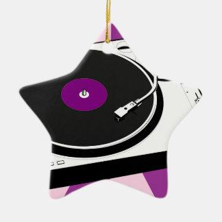 Custom Disco Turntable Retro Record Ceramic Star Ornament