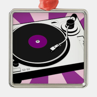 Custom Disco Turntable Retro Record Silver-Colored Square Ornament