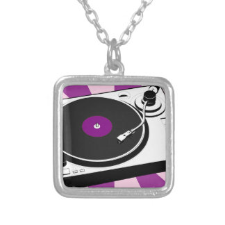 Custom Disco Turntable Retro Record Silver Plated Necklace
