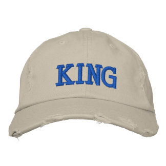 "Custom Distressed ""KING"" Baseball Cap"
