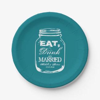 Custom DIY mason jar wedding garden party plates