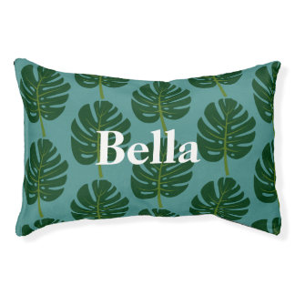 Custom dog bed with Monstera palm Leaf pattern Small Dog Bed