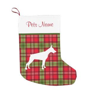 Custom Dog Breed Red & Green Plaid Small Christmas Stocking