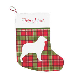 Custom Dog Breed Red & Green Plaid Small Christmas Stocking