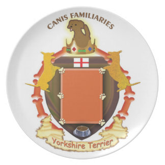 Custom - Dog Coat of Arms Plate-Yorkshire Terrier Party Plate