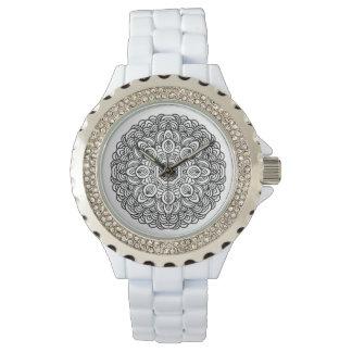 Custom doodle mandala Rhinestone Enamel Watches
