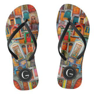 Custom Doors of the World Unique Colorful Flip Flops