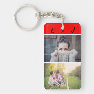 Custom, Double Sided, Photos and Initials. Keychain