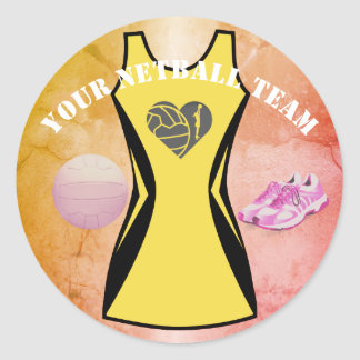 Custom Dress Colour Personalised Netball Team Classic Round Sticker