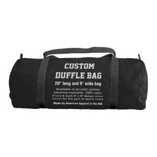"Custom Duffle Bag BLACK Gym, Sports, Club 20"" x 9"""