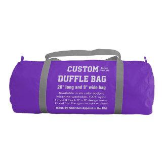 "Custom Duffle Bag PURPLE Gym, Sports Club 20"" x 9"""