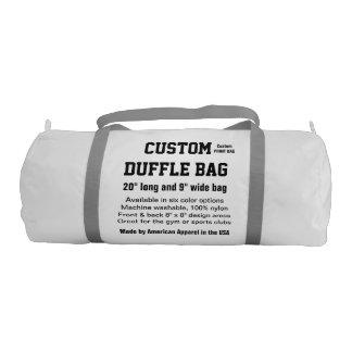 """Custom Duffle Bag WHITE Gym, Sports, Club 20"""" x 9"""""""