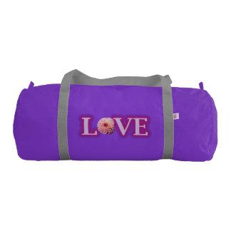 Custom Duffle Gym Bag, Purple with Silver straps Gym Bag