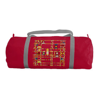 Custom Duffle Gym Bag, Red with Silver straps Gym Bag
