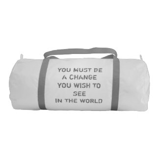 Custom Duffle Gym Bag, White with Silver straps Gym Bag