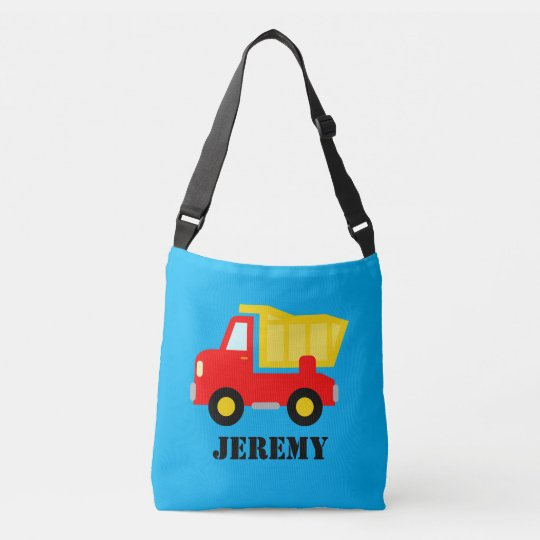 Custom dump truck cross body bag for school kids