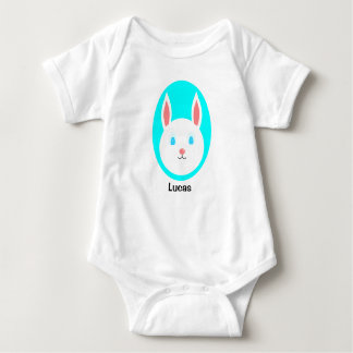 Custom Easter Bunny Baby Bodysuit - Blue Accent