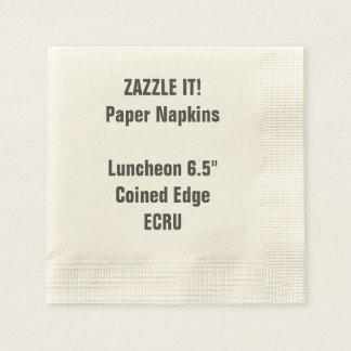 Custom ECRU Coined Luncheon Paper Napkins Blank