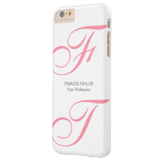 Custom elegant and modern pink script monogram… barely there iPhone 6 plus case