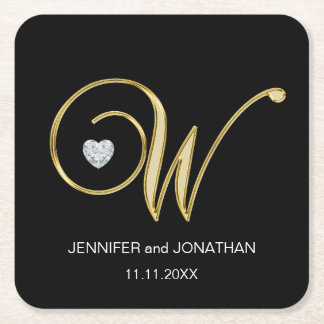 Custom Elegant Black Gold Monogram Letter Wedding Square Paper Coaster
