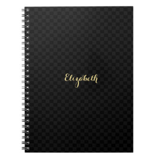 Custom Elegant Faux Gold Name Black Check Pattern Notebook
